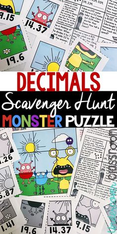 Decimal enrichment for upper elementary students. Practice decimal word problems that involve adding, subtracting, multiplying, and dividing decimals. Students search around the room for puzzle pieces to make a monster pu Worksheets For Kids, Math Worksheets, Math Resources, Multiplying Decimals, Dividing Decimals, Enrichment Activities, Free Activities, Elementary Math, Upper Elementary