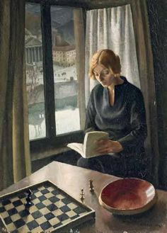 """books0977: """" Interno (1921). Luigi (Gigi) Chessa (Italian, 1895-1935). Oil on board. Chessa's atmospheric and contemplative study depicts reading and chess in the home. The subject has buried her nose..."""