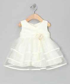 Love this Chic Baby Ivory Tiered Surplice Dress - Infant by Chic Baby on #zulily! #zulilyfinds