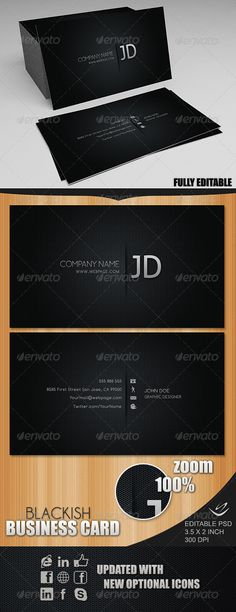 2 Sided Blackish business card, excelent for any type of business or personal usage. Layered PSD File Fully Editable 3.75 × 2.25 inch 300 dpi CMYK Print Ready