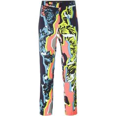 Versace 'Jagged Baroque' Cropped Trouser ($647) ❤ liked on Polyvore featuring pants, capris, multicolour, versace, cropped capri pants, tapered leg pants, multi color pants and multi colored pants