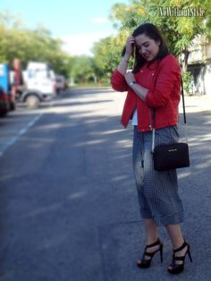 Red biker, culottes, Michael Kors bag and sandals