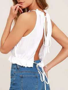 Cute Minimalist White Summer Backless Sleeveless Crop Top With Tie Back And Blue Denim Jeans