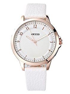 Kezzi Ladies' Watches Fashion Quartz Analog White Leather...…