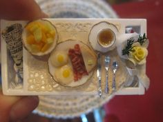 SIGNED BREAKFAST TRAY ARTIST MADE DOLL HOUSE MINIATURE 1:12 SCALE