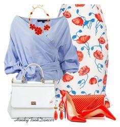 Red,White and Blue Floral Skirt by honkytonkdancer on Polyvore featuring polyvore fashion style Oscar de la Renta Christian Louboutin Dolce&Gabbana clothing redwhiteandblue officewear summerfashion