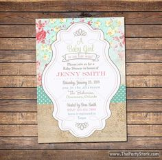 Shabby Chic Baby Shower Invite, floral, digital, gender neutral printable baby shower invitations for boy or girl, Baby Sprinkle