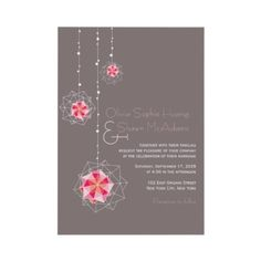 Modern Stylish Fuchsia Hot Pink Hanging Oriental Origami Balls Lights Wedding Invite | Wedding Invitation by fatfatin
