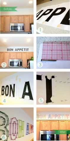 DIY: words above kitchen cabinets