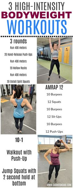 3 High-Intensity, Bodyweight Workouts that will have you sweating and feeling good! Add these to your normal routine to mix it up or just pick one for a quick and sweaty at home workout. Quads And Hamstrings, Yoga Pilates, Jump Squats, Lose Weight Quick, Reduce Weight, What Is Life About, Weight Training, Training Tips, No Equipment Workout