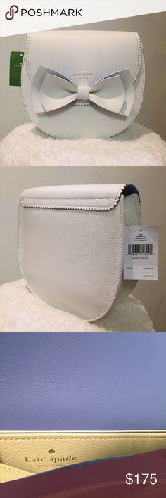 White Kate Spade Crossbody/Shoulder Bag PRICE CUT 🔪🔪🔪 Kate Spade crossbody/shoulder bag with purple inner lining. Cute bag to pair with spring fashion! kate spade Bags Crossbody Bags