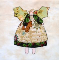 Primitive Angel Appliqued Quilt Block by zizzybob on Etsy
