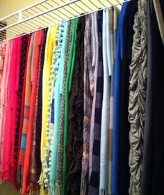 Scarf Storage – why didn't I think of that! This is the exact kind of shelving I have in my new closet! Scarf Storage – why didn't I think of… Scarf Organization, Small Closet Organization, Organization Ideas, Storage Ideas, Organizing Shoes, Clothing Organization, Organization Store, Storage Shelving, Closet Shelves