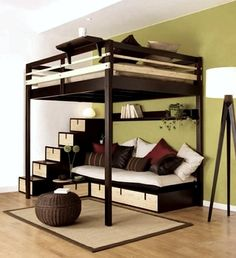 Loft Bed Design for The Modern Adult : Loft Bed Contemporary Bedroom Design For Small Space By Espace Loggia Cool Loft Beds, Modern Bunk Beds, Diy Bed Loft, Full Bed Loft, Cool Beds For Boys, Pallet Loft Bed, Loft Bed Frame, Pallet Wood, Small Rooms