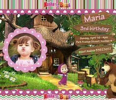 VENTA - invitación Masha y el oso fiesta imprimible personalizado fiesta cumpleaños invitación digital