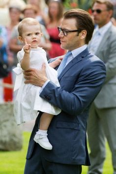 Swedish Prince Daniel and daughter Princess Estelle and she's making a statement that she is number One :)