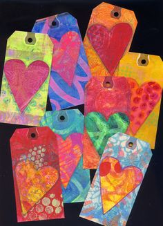 The image above is a scan of just a handful of the tags that Phyllis so generously sent to me for me to use in my own mixed media art. Joanna Grant Mixed Media Art: GELLI PRINT ART TAGS with Phyllis Terrell