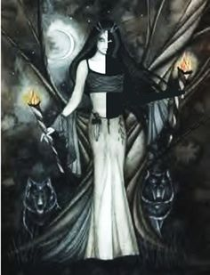 Melinoe, was the ancient Greek goddess of ghosts. Melinoe means dark thought. She wandered the earth every night with a train of ghosts, scaring anyone in their path. This was said to be the reason that dogs would bark at what looked like  nothing at night (she and her ghost train stalked the earth invisibly).
