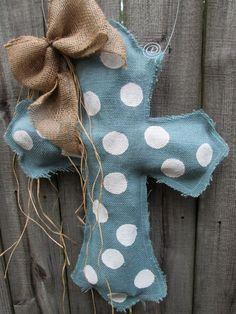 Burlap Cross Burlap Door Hanger Blue Grey with by nursejeanneg