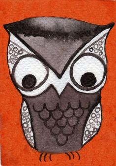 Watercolor Painting: Watercolor Illustration -- Mini Art Print --  Mister Owl -- ACEO Print