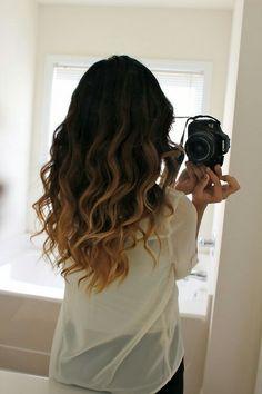 Brown to dark blonde ombre hair