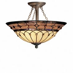 Stained Glass / Tiffany Three Light Semi-Flush Ceiling Fixture from the Dunsmuir Collection 350.00  This is a I wish.