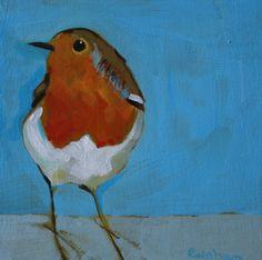 Robin on Frost 10 x 10 cm acrylic on board