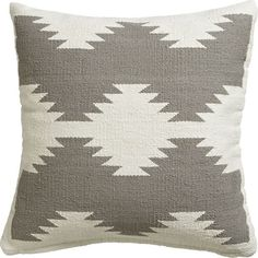 """CB2 Tecca 18"""" Pillow With Feather-Down Insert ($40) ❤ liked on Polyvore featuring home, home decor, throw pillows, pillow, feather filled throw pillows, plush throw pillows, graphic throw pillows, kilim throw pillows and feather down pillow inserts"""