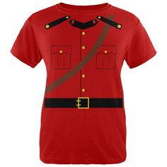 Halloween Canadian Mountie Police Costume Womens T Shirt