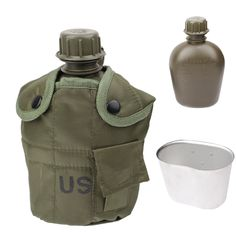 3-in-1 1L US Army Military Outdoor Water Bottle Drinking Container with Canteen & Nylon Carrying Pouch (Army Green)
