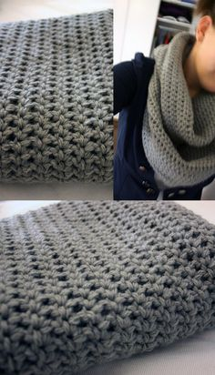 Easy infinity scarf - chain desired length, slip stitch, use double or triple crochet, rows to desired width