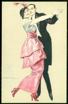Dudovich Art Deco Postcard Dance Woman in Pink Dress and Feather | eBay