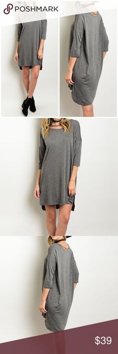 "Fall Must Have Gray Dress/ Tunic Jersey knit dress with strap along neckline. Made of Rayon/ spandex blend.  Measurements for small Length : 34"" Bust: 40"". Bchic Dresses"
