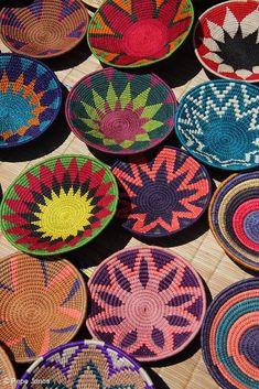 Colourful Swazi baskets photographed at Manzini market