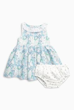 Buy Ecru Floral Print Prom Dress And Knickers (0mths-2yrs) from the Next UK online shop