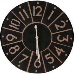 Black Iron Segment Wall Clock - Besp-Oak large vintage wall clock for Large Vintage Wall Clocks, Large Clock, Wall Clock Online, Iron, Black, Black People, Big Clocks, Steel