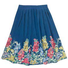 Herbaceous Border Print Crepe Skirt