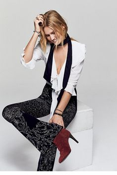 Rising Sun Sweater Flare | Soft and easy to wear stretchy printed flares w/ elastic waistband