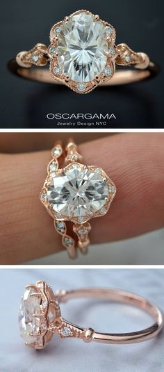 MADE TO ORDER Allow 7 to 10 days for production. 14kt Pink gold engagement ring with 8 diamonds on the halo and two diamonds on the shank The center stone Charles & Colvard Forever One Moissanite certified 9x7, 8X6 or 7X5 The setting is made in pink gold with an antique look the halo includes 8 diamonds 1.15mm G-Si quality and the shank 2 diamonds 1.15mm G-SI Total carat weight .09ct Matching Band optional https://www.etsy.com/listing/509617197  Finger sizes from 4 to ...