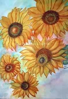 Original Watercolor Floral Framed Painting  by EvaBarkmanDesigns, $150.00
