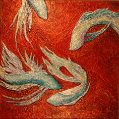 """Underlying Currents  © Col Mitchell  48""""x 48"""" x 1.5""""  Manipulated paper, fluid acrylics and inks on canvas  Private Collection #fish #fightingfish #paper #paperart #paperartist"""