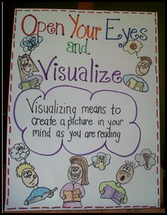 visualizing anchor chart-change to clothes your eyes and visualize! Visualizing Anchor Chart, Ela Anchor Charts, Kindergarten Anchor Charts, Kindergarten Reading, Teaching Reading, Teaching Ideas, Reading Activities, Guided Reading, Kindergarten Lessons