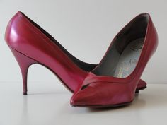 Vintage Pearlized Magenta Leather Pumps Shoes--Salvatore Cangemi-Pointed Toes--sz 9 M-NEW. $59.99, via Etsy.