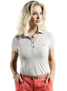 5821d1a852 camisa polo feminina mescla cinza tatiane principessa Camisa Feminina