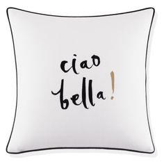 Kate Spade New York Ciao Bella Pillow (185 SAR) ❤ liked on Polyvore featuring home, home decor, throw pillows, white, embroidered throw pillows, italian home decor, white throw pillows, white home decor and kate spade throw pillows