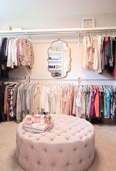 New rustic closet decor ideas Spare Room Closet, Spare Bedroom Closets, Wardrobe Room, Closet Small, Pink Closet, Hallway Closet, Master Closet, Dressing Room Decor, Dressing Room Closet