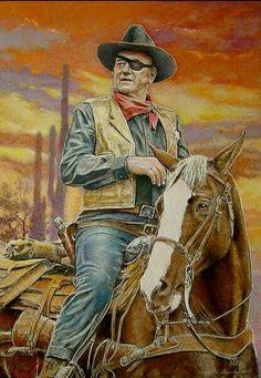 "John Wayne as a drunken U. Marshal Reuben J. ""Rooster"" Cogburn in True Grit Well, howdy pilgrim! Westerns, Chat Web, Films Western, Portrait Au Crayon, John Wayne Movies, Cowboy Art, Cowboy Pics, Cowboy Pictures, Western Cowboy"
