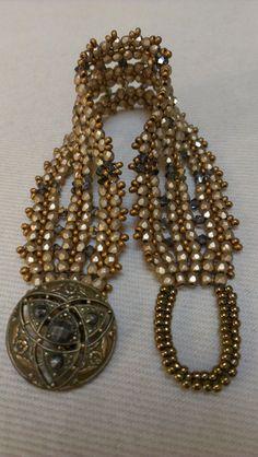 Matte Gold Graphite and Brass Crystal Bracelet by VelvetBead