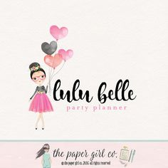 party logo girl logo premade logo watermark logo by ThePaperGirlCo