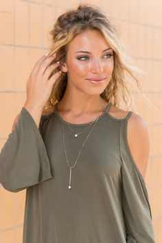 """Simple Ball Necklace - Gold""You will have a ball every time you get to wear this simply sweet necklace! We love those two little textured gold beads! They really make this necklace amazing! #newarrivals #shopthemint"
